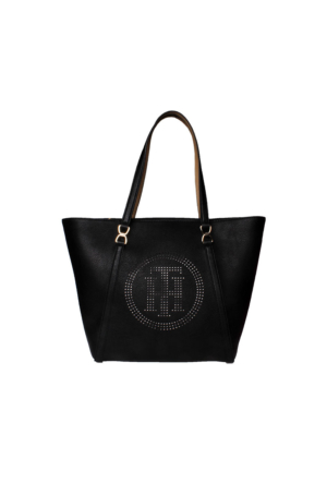 Tommy Hilfiger Black Sand Aw0Aw03516 Tommy Fashion Novelty Tote Perf Çanta