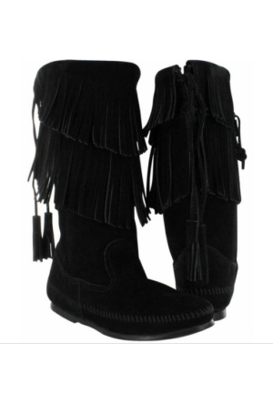 Minnetonka Black 1689 Minnetonka Calf Hi 2-Layer Fringe Boot Çizme