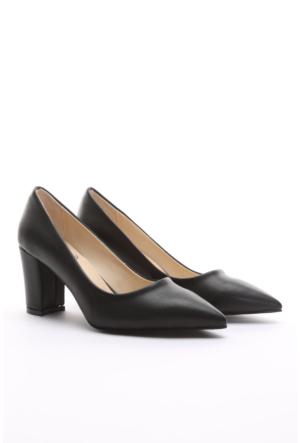 B.F.G Polo Style Düz Kalın Topuk Sitiletto Ayakkabı Siyah
