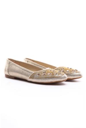 Demir Ayakkabı Taşlı Babet Altın