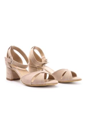 PNK Bayan Topuklu Sandalet Bej