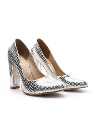 Shoes&Moda Bayan Topuklu Ayakkabı Gümüş