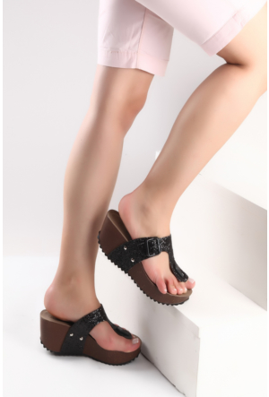 Pembe Potin Siyah Sim Sandalet