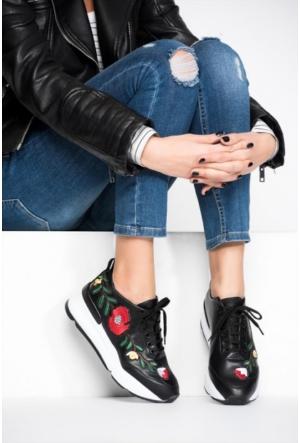 Pembe Potin Siyah Çiçek Ayakkabı