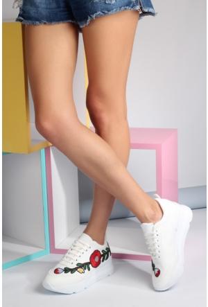 Pembe Potin Beyaz Çiçek Ayakkabı