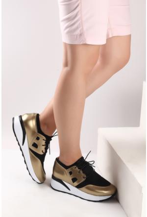 Pembe Potin Siyah Dore Ayakkabı