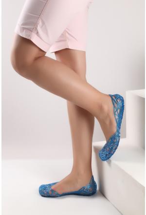 Pembe Potin Mavi Sandalet