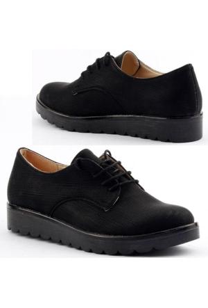Armoni 40 Kot Cilt Bağcıklı Günlük Bayan Oxfort Babet Ayakkabı