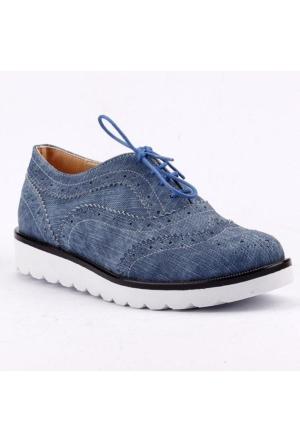 Armoni 44 Kot Cilt Bağcıklı Günlük Bayan Oxfort Babet Ayakkabı