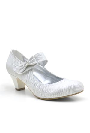 Sarıkaya Abiye Sedef Rengi Taşlı Topuklu Kız Çocuk Ayakkabı