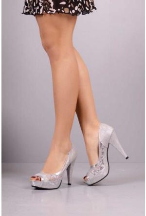 Peri Kızı Danti Simli Topuklu Ayakkabı - Gri