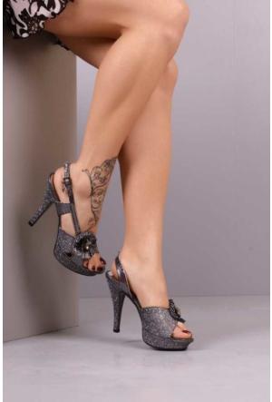 Peri Kızı Silvery Topuklu Ayakkabı - Gri