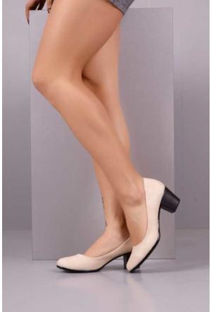 Peri Kızı Gayzer Kota Topuklu Ayakkabı - Bej