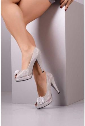 Peri Kızı Fudi Çiçekli Simli Topuklu Ayakkabı - Gri