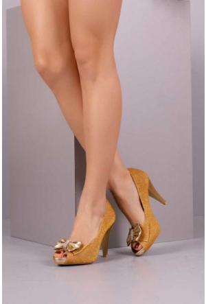 Peri Kızı Reyzen Simli Topuklu Ayakkabı - Hardal