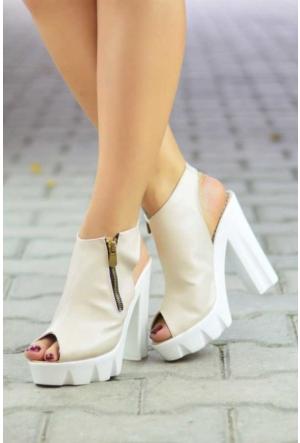 Peri Kızı Alenda Topuklu Ayakkabı - Krem