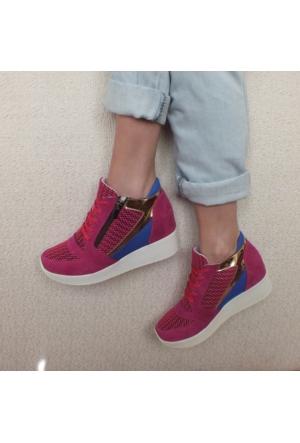 ModaBuymuş Gizli Dolgu Deri Sneaker Bayan Ayakkabı