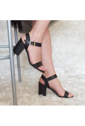 ModaBuymuş Tek Bant Kalın Topuklu Bayan Ayakkabı