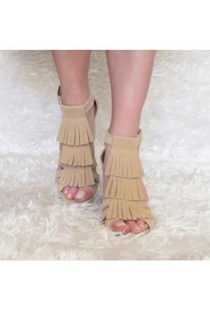 ModaBuymuş Püsküllü Kalın Topuklu Bayan Ayakkabı