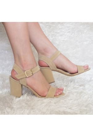 ModaBuymuş Çapraz Tek Bantlı Kalın Topuklu Bayan Ayakkabı