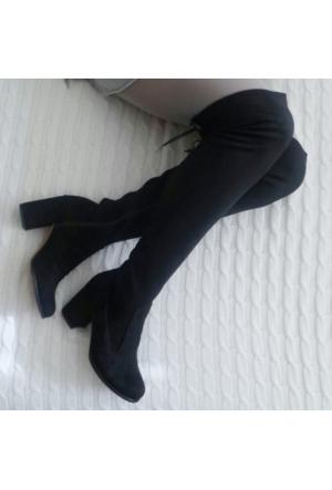 ModaBuymuş Lolora Siyah Uzun Streç Çizme