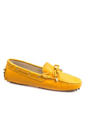 Cabani Loafer Günlük Kadın Ayakkabı Sarı Deri