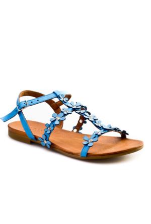 Cabani Çiçekli Tokalı Günlük Kadın Sandalet Lacivert Deri