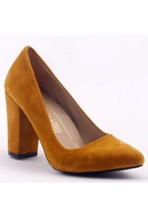 Mangom 100 Kalın Topuk Bayan Süet Ayakkabı