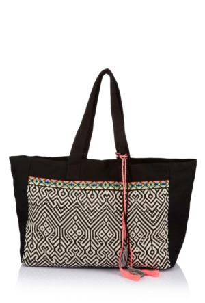 DeFacto Kadın Desenli Büyük Çanta Siyah