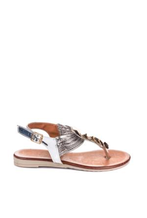 Pembe Potin Lame Sandalet