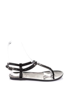 Pembe Potin Siyah Sandalet
