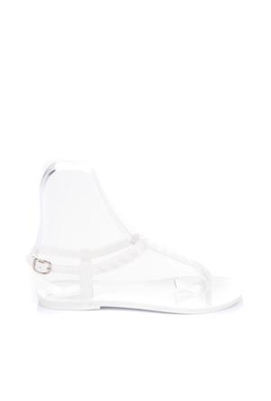 Pembe Potin Beyaz Sandalet