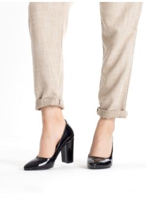 Erbilden Erb Siyah Rugan Kalın Topuklu Bayan Ayakkabı