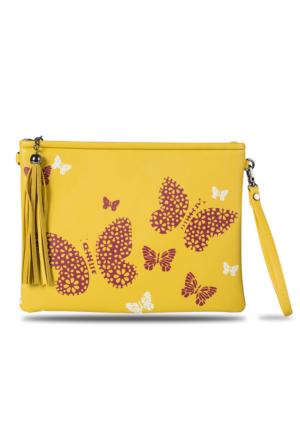 Dsn Getcho Sarı Kelebek Desenli Zincir Askılı Clutch