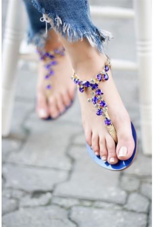 İnce Topuk Taşlı Sandalet Mavi