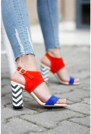 İnce Topuk Topuklu Sandalet Mavi