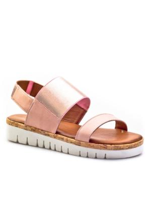 Inuovo Likra Bandlı Günlük Kadın Sandalet Pembe Deri