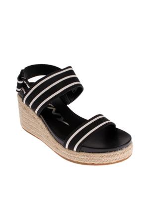 Dkny Lucy Jute Stripe Print Canvas 23159762 Kadın Ayakkabı Black Whıte