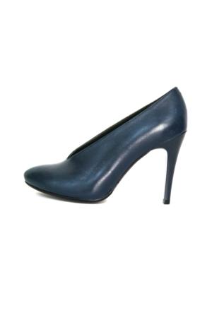 Akl Shoes Topuklu Lacivert Deri Ayakkabı