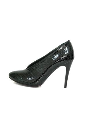 Akl Shoes Topuklu Siyah Petek Deri Ayakkabı