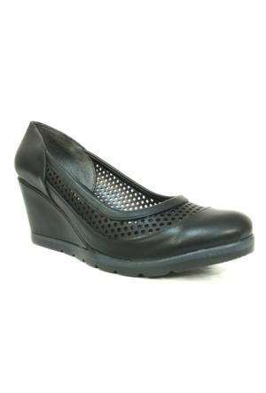 Punto 694008 Siyah Dolgu Topuk Bayan Ayakkabı