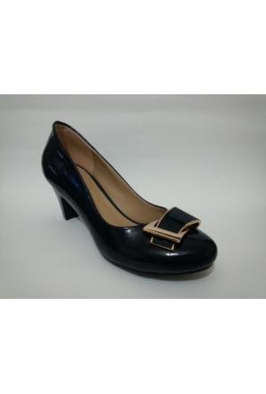 Elberdi 3522 Lacivert Rugan Topuklu Bayan Ayakkabı