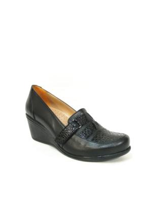 Lucianna Bella 165 Siyah Anatomik Dolgu Topuk Ayakkabı