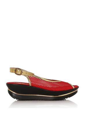 EsMODA Cc-0075 Kırmızı Altın Kadın Sandalet