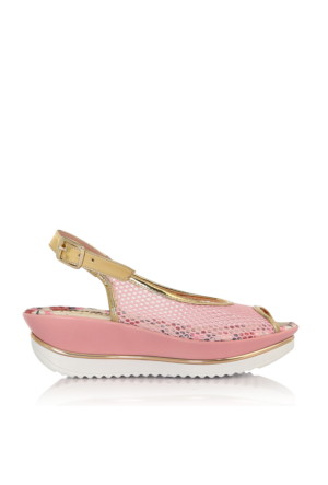 EsMODA Cc-0075 Pembe Altın Kadın Sandalet