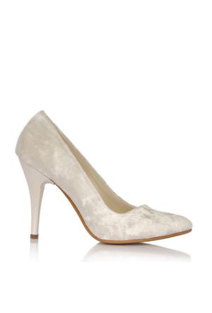 EsMODA Cc-010 Beyaz Kadife Kadın Topuklu Ayakkabı