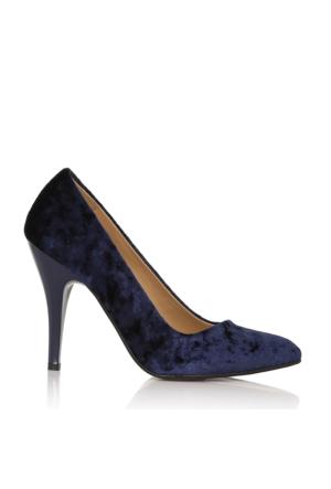 EsMODA Cc-010 Lacivert Kadife Kadın Topuklu Ayakkabı