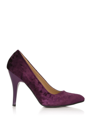 EsMODA Cc-010 Mor Kadife Kadın Topuklu Ayakkabı