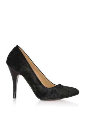 EsMODA Cc-010 Siyah Kadife Kadın Topuklu Ayakkabı