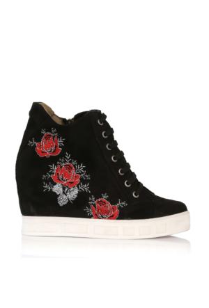EsMODA Cc-060 Siyah Süet Çiçek Gizli Topuklu Günlük Ayakkabı